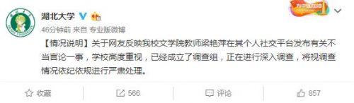 湖北大学梁艳萍教授被调查 梁艳萍说了啥不当言论事件始末