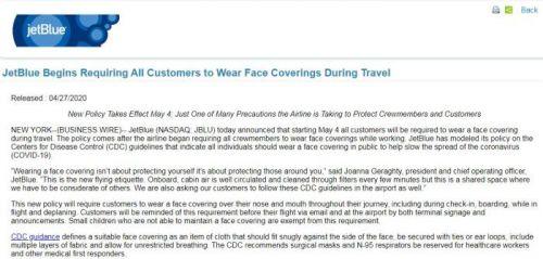 美国捷蓝航空公司要求乘客5月4日起佩戴口罩