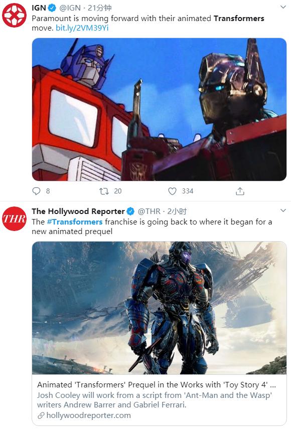 《變形金剛》將推出前傳動畫電影 《玩具總動員4》導演打造