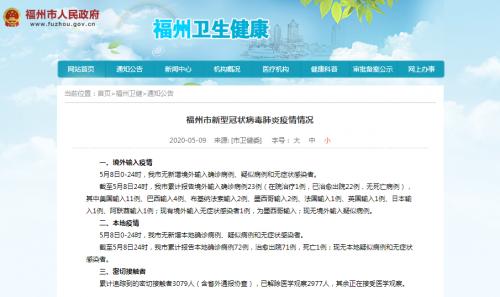 5月8日福州无新增境外输入确诊病例、疑似病例和无症状感染者