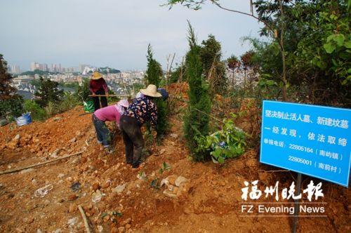 工人在千山兜进行植被恢复。