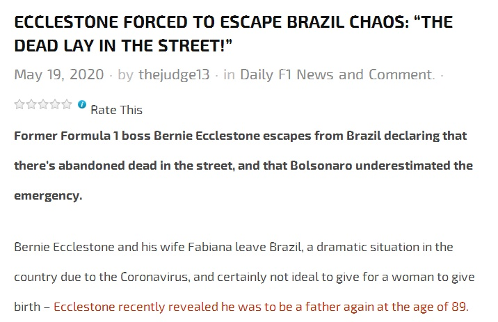 前F1总裁离开巴西移居瑞士:新冠死者躺在街头
