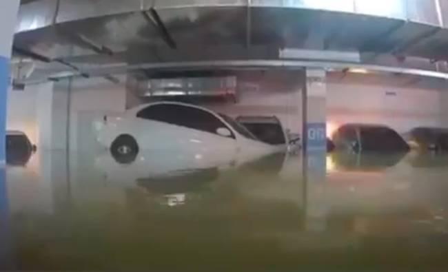 车库被淹洪水完美倒车入库 网友:自己技术连洪水都不如