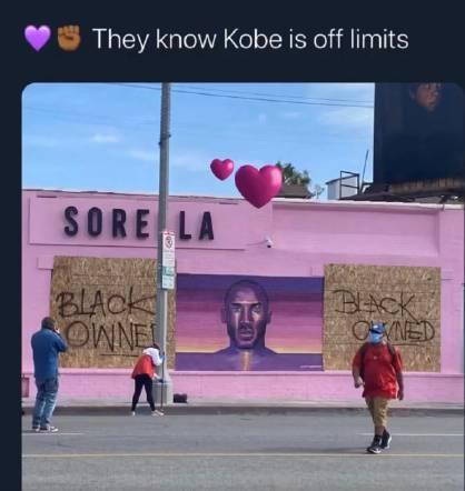 洛杉矶示威者保护科比父女壁画怎么回事?现场图曝光科比妻子点赞