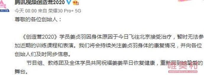 姜贞羽因伤暂停录制创3真的吗?姜贞羽个人资料照片为什么受伤了