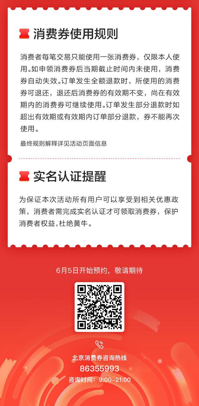 北京消费季6月6日起正式启动 122亿元消费券周六上午十点开领