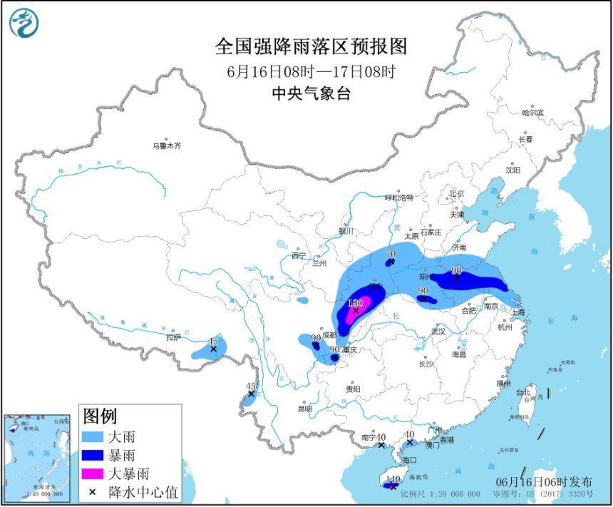 暴雨�S色�A警:�西四川等地部分地�^有大暴雨