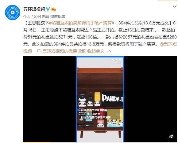 王思聪旗下公司拍卖 13.8万成交 竟然是拍卖周边产物