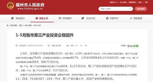 1-5月,福州第三产业投资增长5.1%