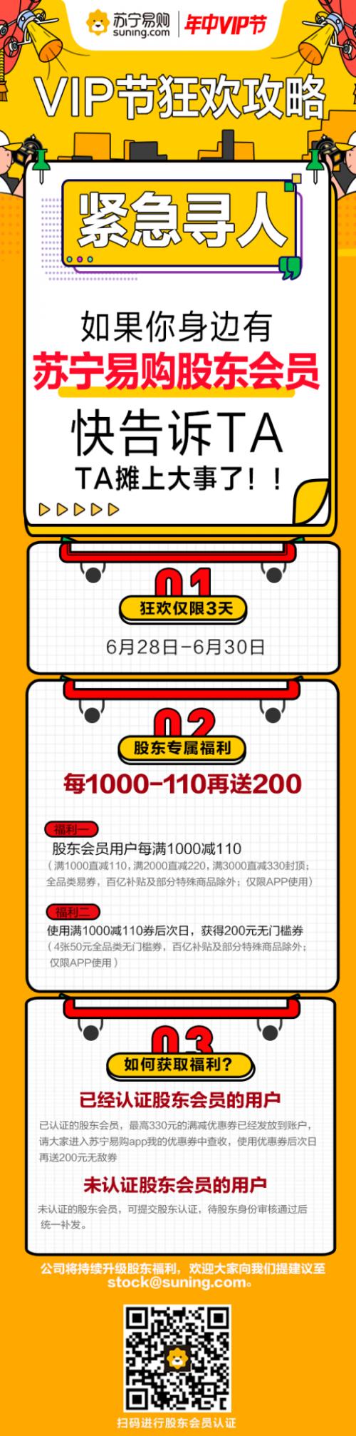 618战绩亮眼,苏宁易购启动VIP狂欢节回馈股东支持