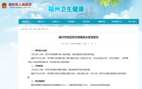 7月1日福州无新增确诊病例、疑似病例和无症状感染者